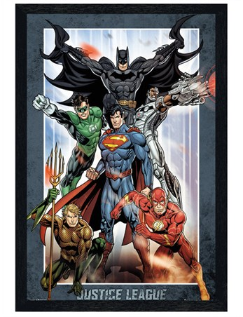 Black Wooden Framed Justice League United - DC Comics
