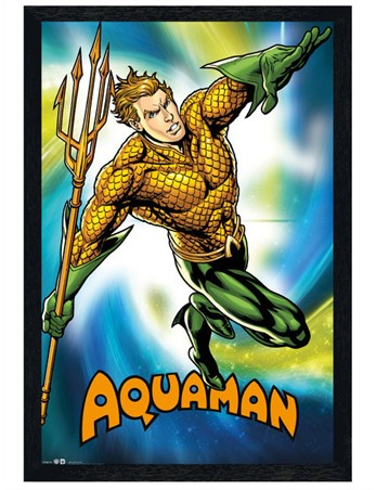 Black Wooden Framed Aquaman - DC Comics