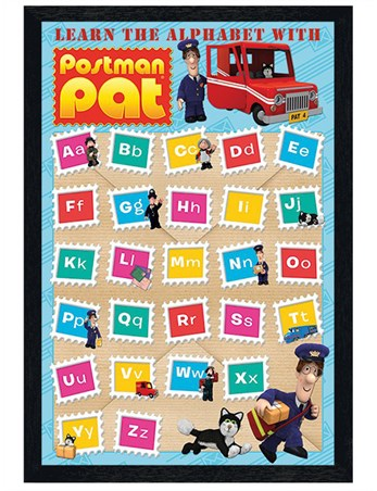 Black Wooden Framed Learn With Postman Pat - Alphabet