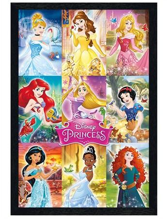 Black Wooden Framed Princess Collage - Disney Princess