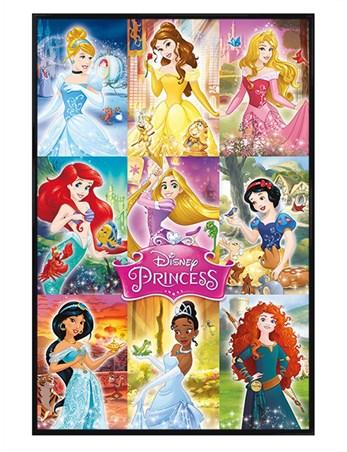 Gloss Black Framed Princess Collage - Disney