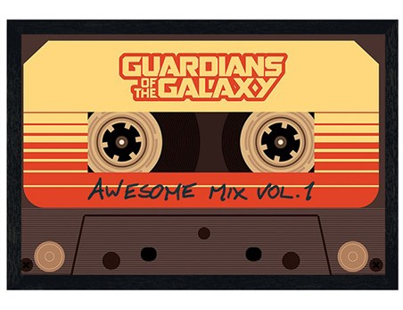 Black Wooden Framed Awesome Mix Vol. 1 - Guardians Of The Galaxy