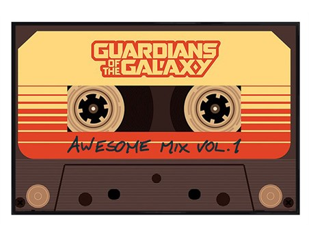 Gloss Black Framed Awesome Mix Vol 1 - Guardians Of The Galaxy