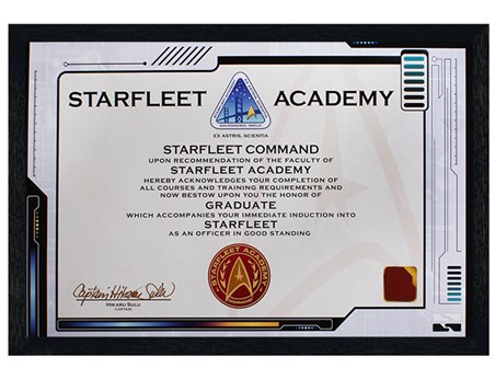 Black Wooden Framed Starfleet Academy Certificate - Star Trek