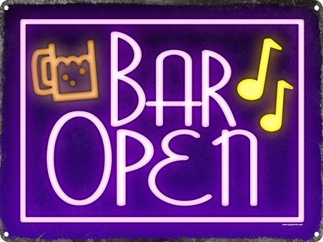 Framed Bar Open Tin Sign - Drink Time