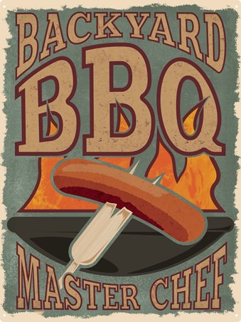 Backyard BBQ Master Chef Tin Sign