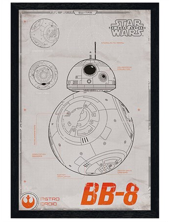Framed Black Wooden Framed Episode VII BB-8 - Star Wars