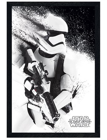 Black Wooden Framed Episode VII Stormtrooper Paint Framed Poster