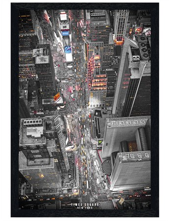 Black Wooden Framed Time Square Lights - New York