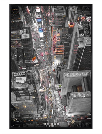 Gloss Black Framed New York - Times Square Lights
