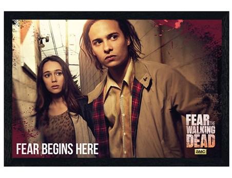Black Wooden Framed Fear Begins Here - Fear The Walking Dead