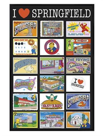 Gloss Black Framed I Love Springfield - TV's Favourite Fictional Town