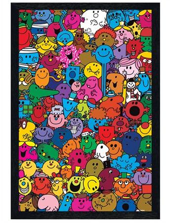 Black Wooden Framed A Colourful Collage - Mr Men & Little Miss
