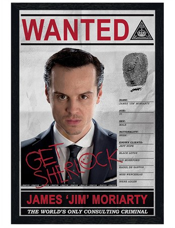 Black Wooden Framed Criminal Moriarty Wanted - Sherlock