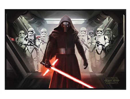 Kylo Ren & An Army Of Stormtroopers - Gloss Black Framed Star Wars Episode VII: The Force Awakens