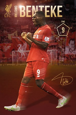 Framed Christian Benteke 2015/16 - Liverpool Football Club