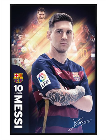 Gloss Black Framed Messi - Barcelona Football Club
