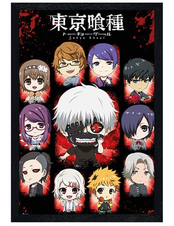 Black Wooden Framed Chibi Characters - Tokyo Ghoul