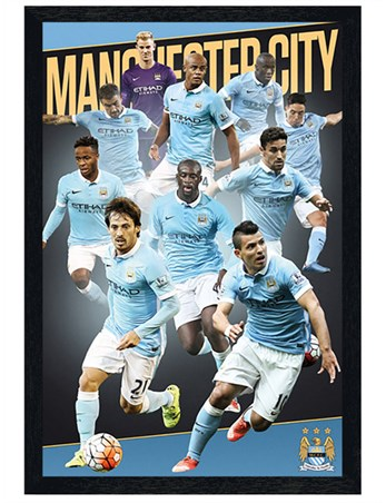 Black Wooden Framed Players Season 15/16 - Manchester City FC