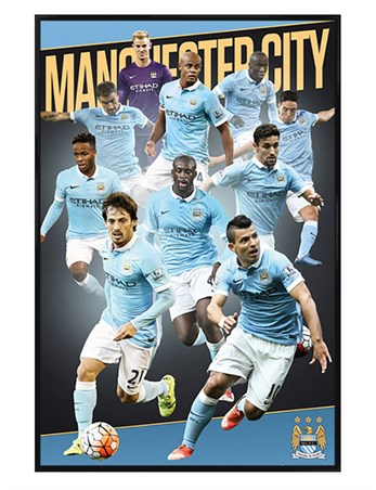 Gloss Black Framed Players Season 15/16 - Manchester City