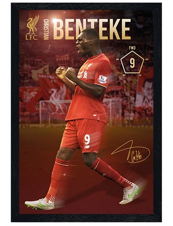 Black Wooden Framed Christian Benteke 2015/16 - Liverpool Football Club