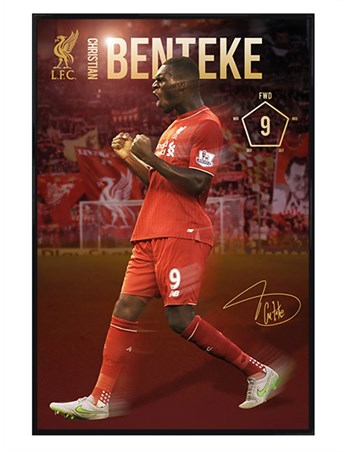 Gloss Black Framed Christian Benteke 2015/16 - Liverpool Football Club
