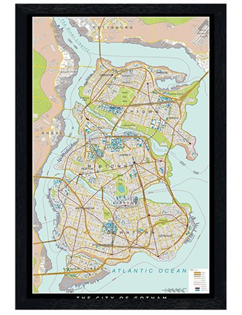 Black Wooden Framed Gotham Map - Batman Begins