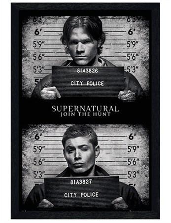 Black Wooden Framed Horrifying Mug Shots - Supernatural