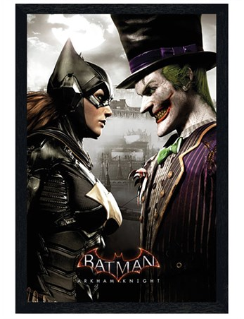 Black Wooden Framed It's All Fun And Games - Arkham Batgirl and Joker