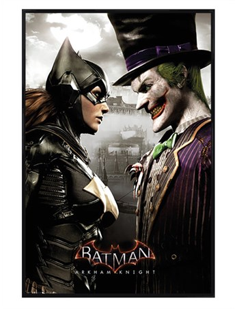 Gloss Black Framed It's All Fun And Games - Arkham Batgirl and Joker