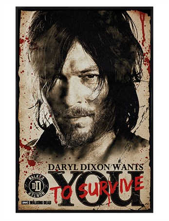 Gloss Black Framed Daryl Needs You - The Walking Dead
