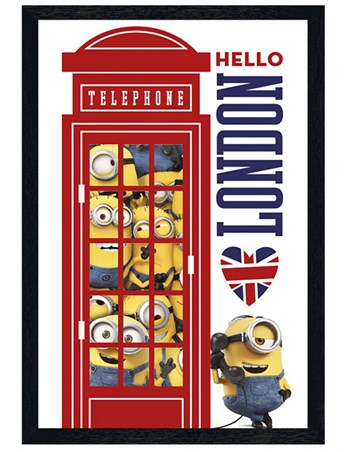 Black Wooden Framed I Love London - Minions