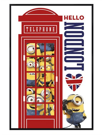 Gloss Black Framed Minions I Love London - Despicable Me