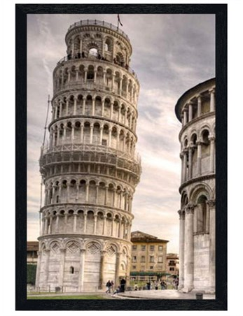 Black Wooden Framed Italy's Finest - The Leaning Tower Of Pisa