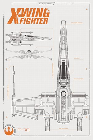 X-Wing Starfighter Plans Poster - Star Wars Episode VII