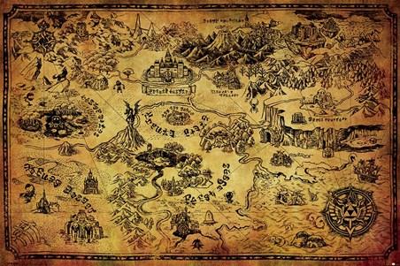 Framed Hyrule Map - The Legend Of Zelda