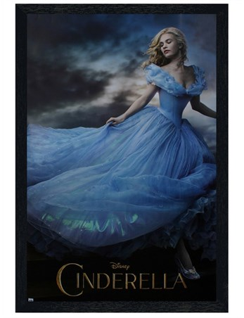 Black Wooden Framed Lily James is Cinderella - Disney's Cinderella