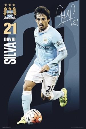 Framed David Silva 2015/16 - Manchester City FC