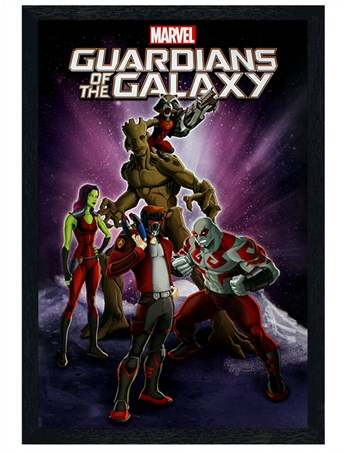 Black Wooden Framed Cartoon Characters - Guardians Of The Galaxy