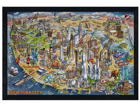 Black Wooden Framed New York City Map - Maria Rabinky