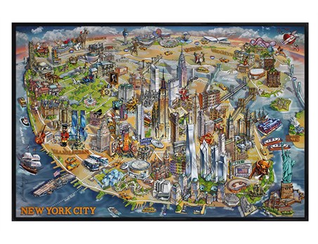 Gloss Black Framed New York City Map - Maria Rabinky