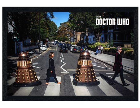 Black Wooden Framed Abbey Road - Doctor Who