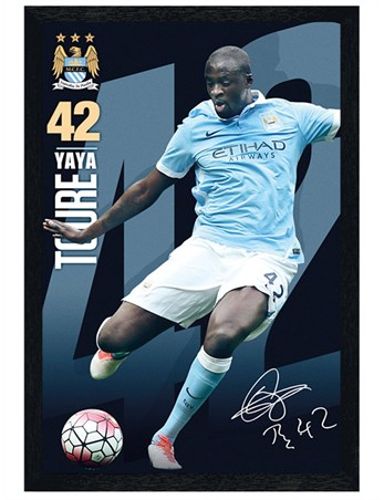 Black Wooden Framed Yaya Toure 15/16, Manchester City