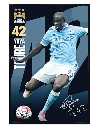 Gloss Black Framed Framed Yaya Toure 15/16, Manchester City