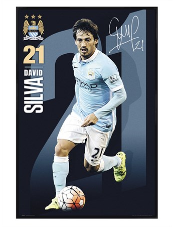 Framed Gloss Black Framed David Silva 2015/16 - Manchester City FC