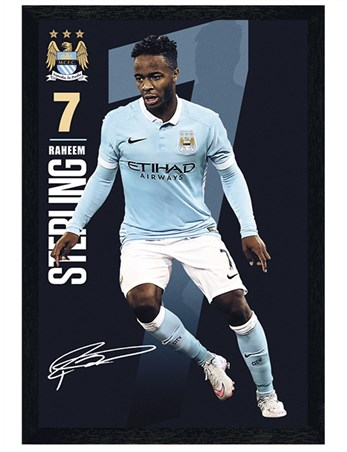 Black Wooden Framed Raheem Sterling 2015/16 - Manchester City FC