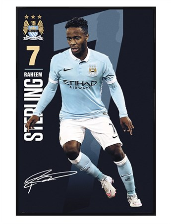 Gloss Black Framed Raheem Sterling 2015/16 - Manchester City FC