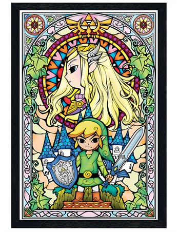 Black Wooden Framed Stained Glass - The Legend Of Zelda