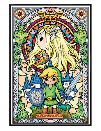 Gloss Black Framed Stained Glass - The Legend Of Zelda