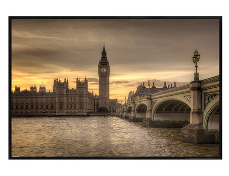 Gloss Black Framed Autumn Skies, London - Rod Edwards